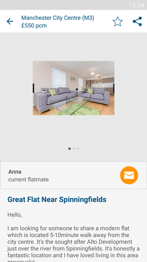 SpareRoom Android App screenshot of saved property