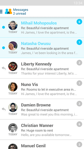 SpareRoom Android App screenshot of messages